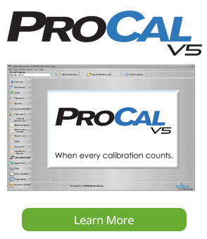 ProCalV5 Calibration Management Software Screen
