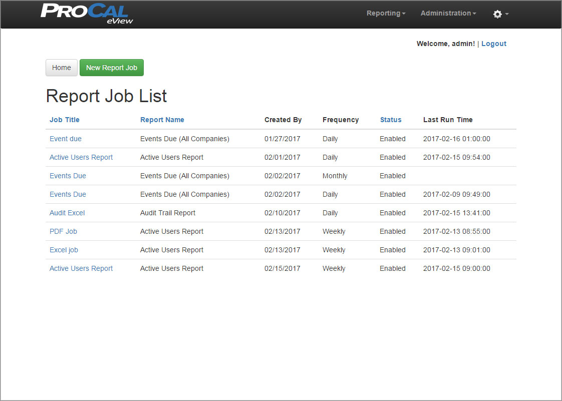 ProCal eView Report Job List Screen