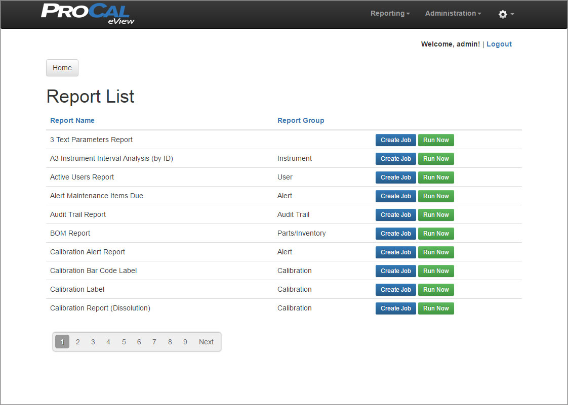 ProCal eView Report List Screen