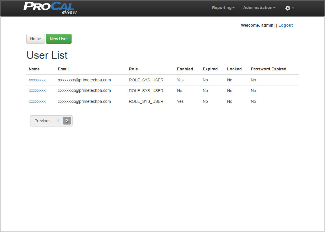 ProCal eView User List Screen