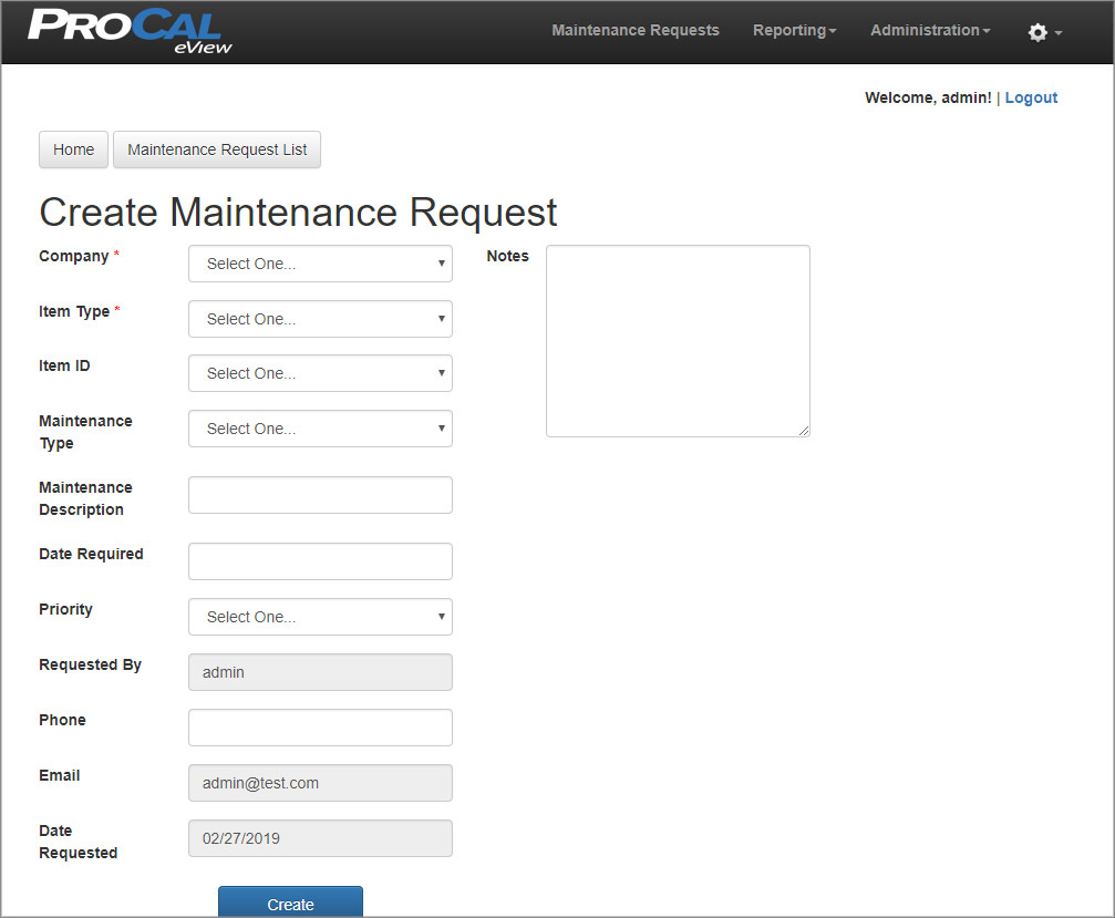Create Maintenance Request