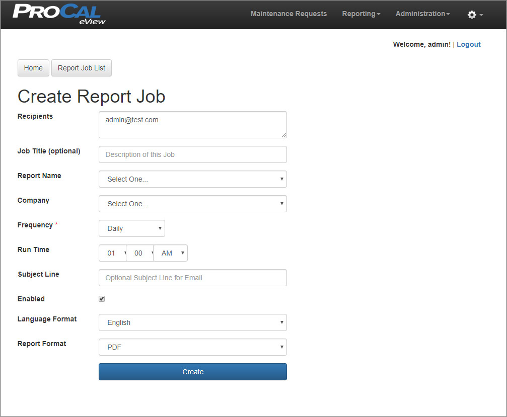 Create Report Job
