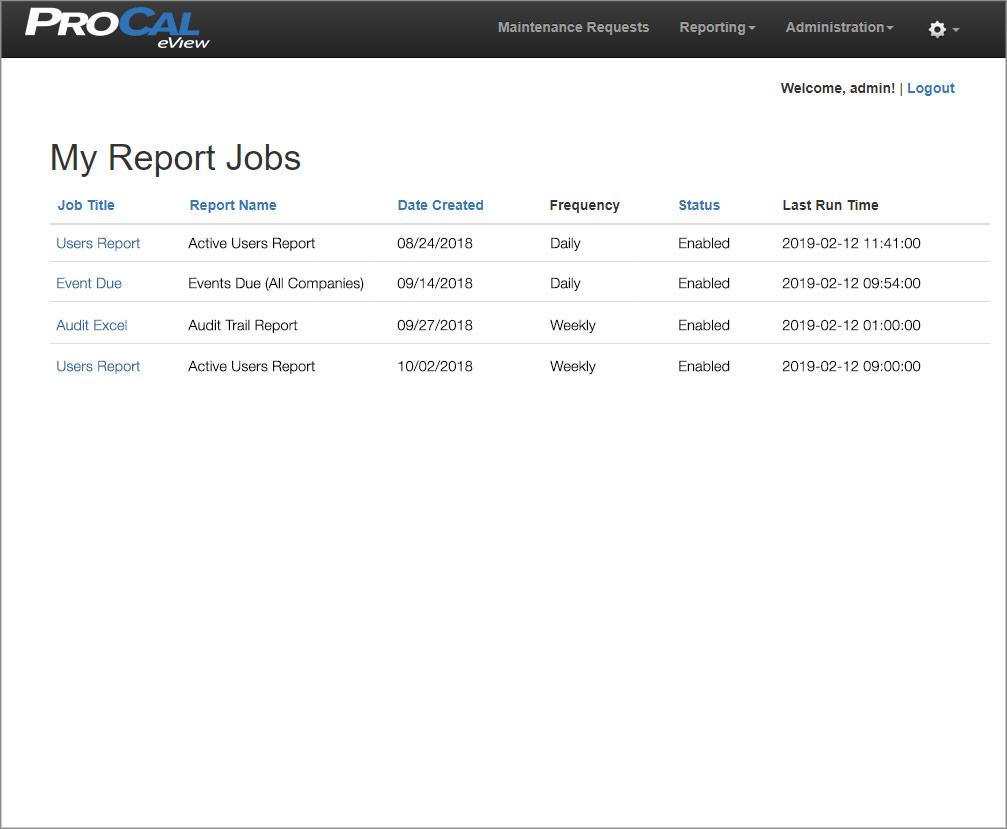 My Report Jobs Screen